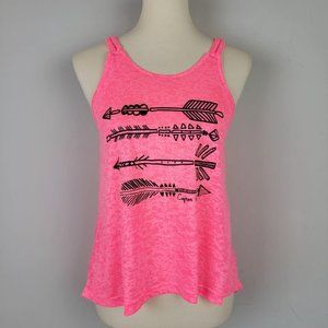 Neon Pink Burnout Knot Braid Strappy Race Back Top